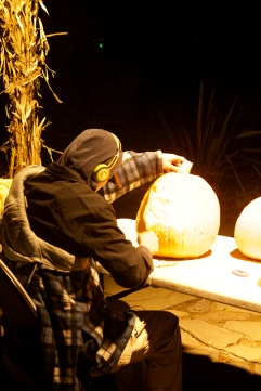 Expert pumpkin carvers were giving a demonstration