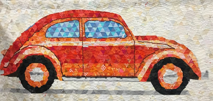 bug: trixelated transportation, Maker: Martha Peterson, Dionne Matthies-Buban, Quilter: Dionne Matthies-Buban, Woodinville, WA